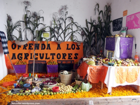 A local school's ofrenda inside the house.