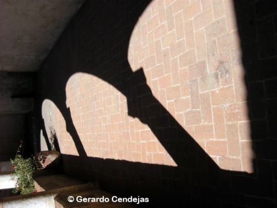 Shadows in the convent in Huejotzingo.