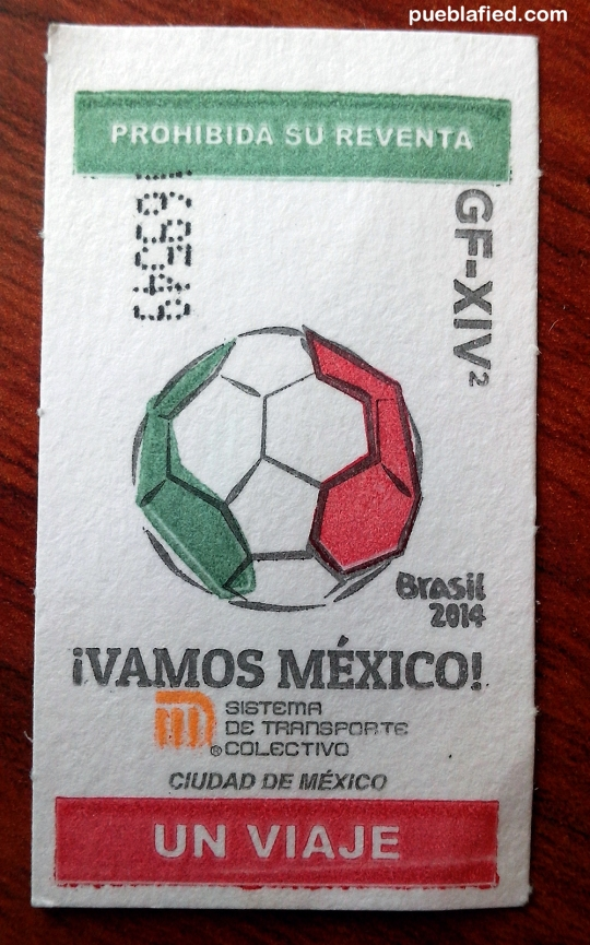 This month's ticket for the Mexico City subway.
