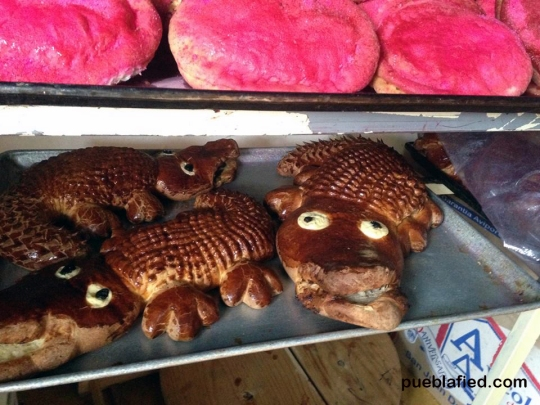 "Chignahuapan and Zacatlán are both famous for their ""pan de queso,"" or sweetbread stuffed with cheese. It sounds strange, but it's delicious! My friend Adriana took this picture of these cheese-filled alligators."