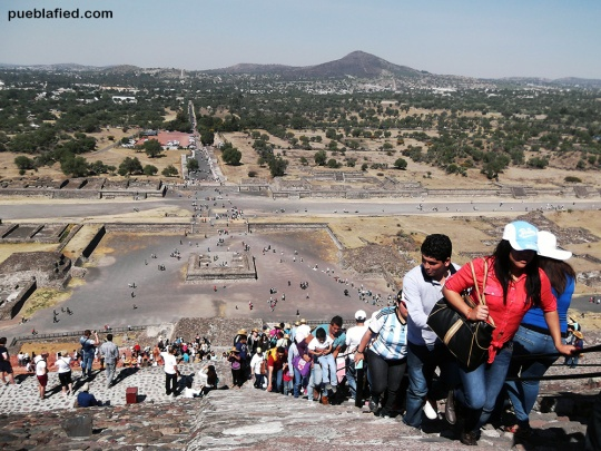 Climbing the Pyramid of the Sun.